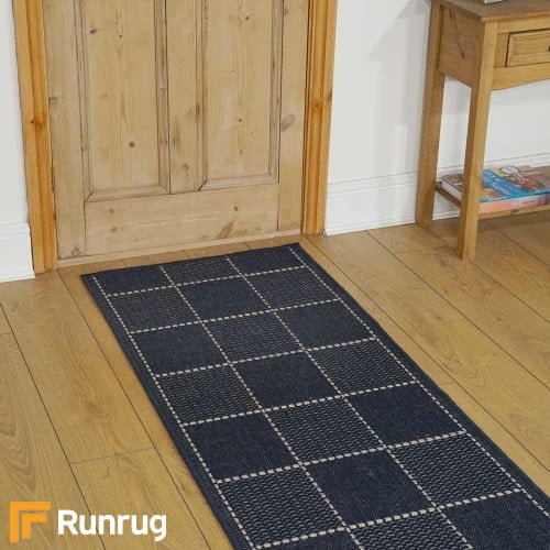 Check Blue Hallway Carpet Runners