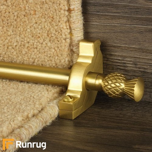 Country Satin Brass Finish Arran Plain Stair Carpet Runner Rods