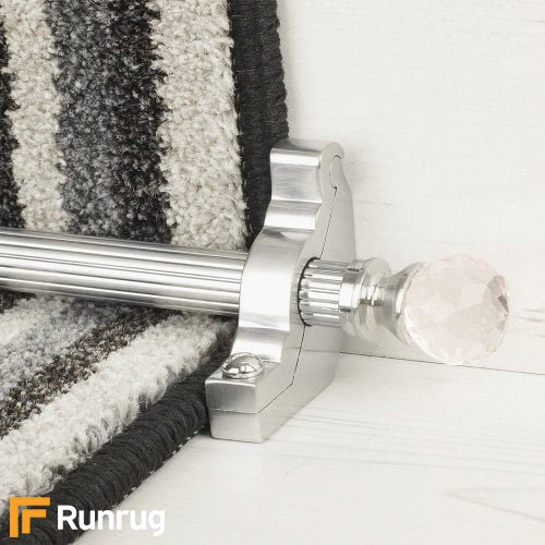 Crystal Brushed Chrome Rose Reeded Stair Rod