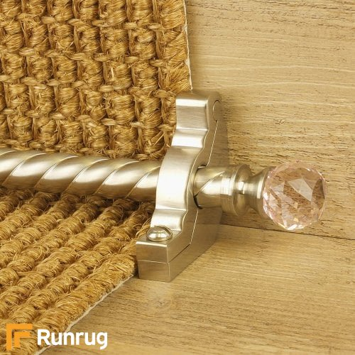 Crystal Satin Nickel Rose Spiral Stair Rod