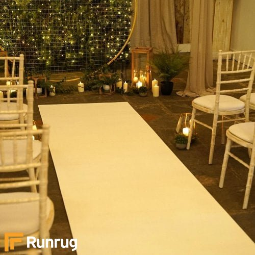 Eliza Glitter Bianco Wedding Aisle Runner