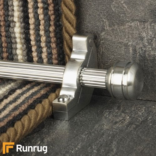 Vision Brushed Chrome Piston Reeded Stair Rod