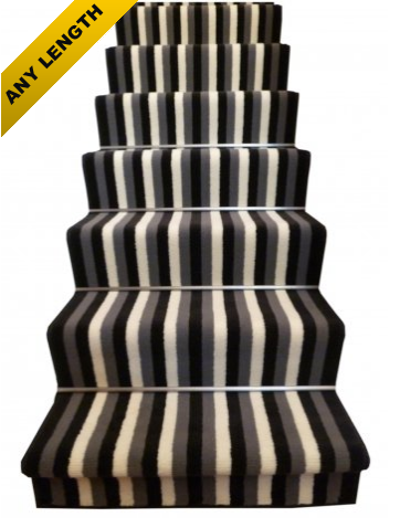 Monochome Black White Stair Runner