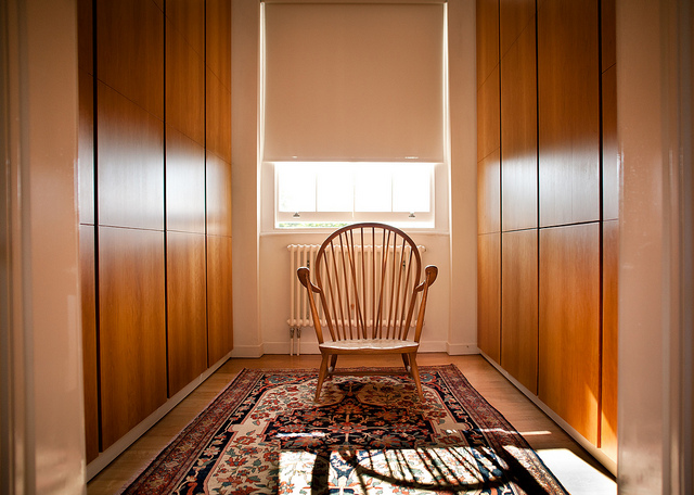 hallway storage with chair