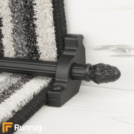 Country Black Sherwood Reeded Stair Rod