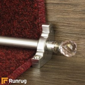 Crystal Brushed Chrome Rose Plain Stair Rod