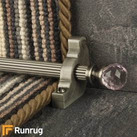Crystal Pewter Rose Reeded Stair Rod