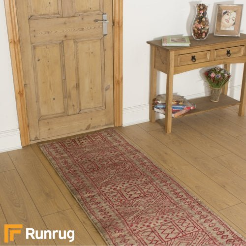 Afrikans Taupe Red Hall Runner