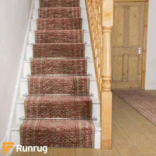 Afrikans Taupe Red Stair Runner