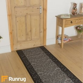 Baroque Black Grey Hall Runner