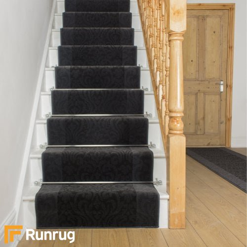 Baroque Black Grey Stair Runner