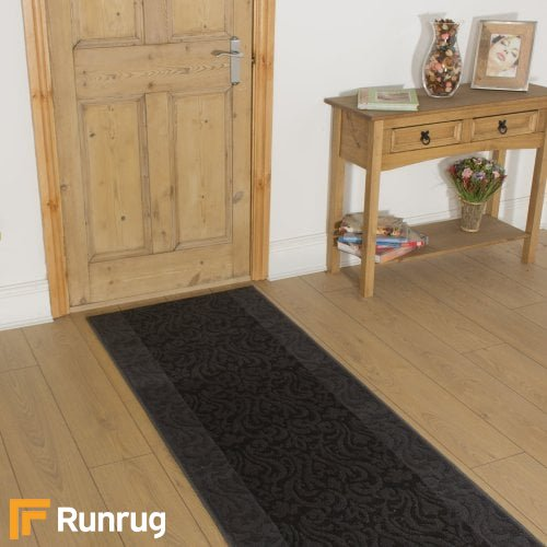 Baroque Dark Grey Black Hall Runner
