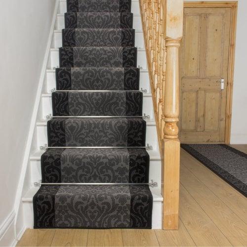 Carpet Runners UK Baroque Dark Grey Black Stair Runner