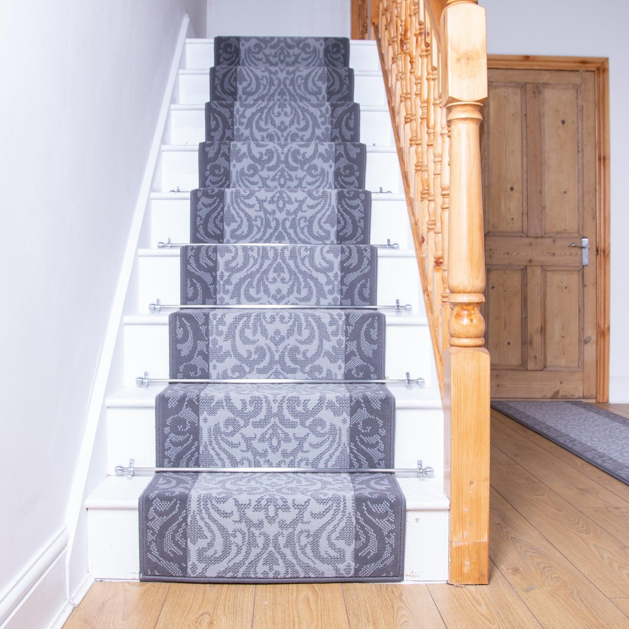 Baroque Light Gray Stair Runner