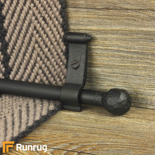 Blacksmith Black Finish Ball Plain Stair Carpet Runner Rods