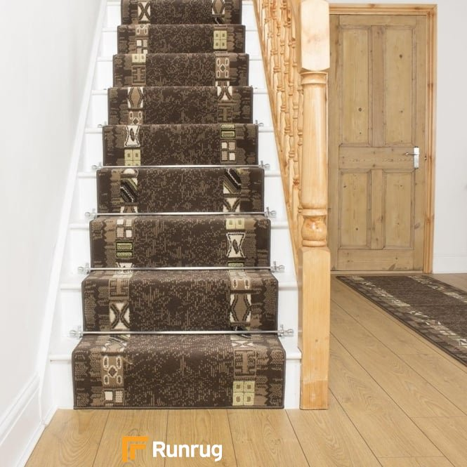 Block Brown Stair Runner