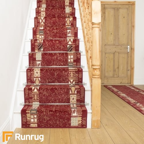 Block Red Stair Runner
