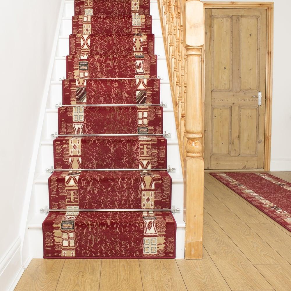 Block Red Stair Carpet Runner For Narrow Staircase