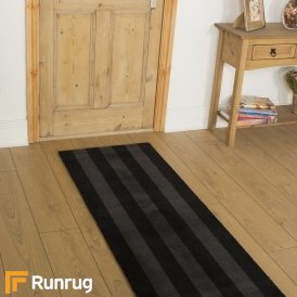 Brink & Campman 80/20 Wool Hallway Runner - Items Black Grey Stripe 12504