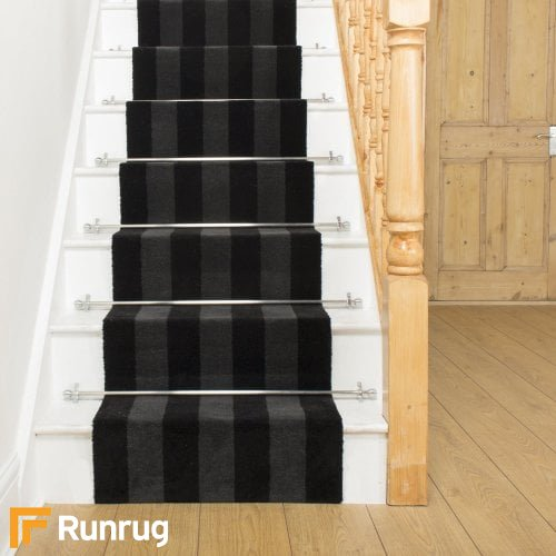Brink & Campman 80/20 Wool Stair Runner - Items Black Grey Stripe 12504