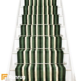 Broad 3 Green & Cream Stair Runner
