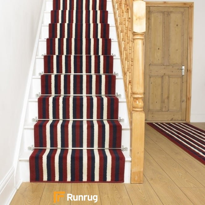 Broad 4 Red, Blue & Cream Stair Runner