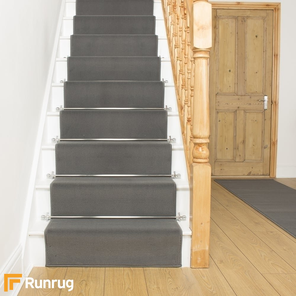Plain Light Grey Stair Runner