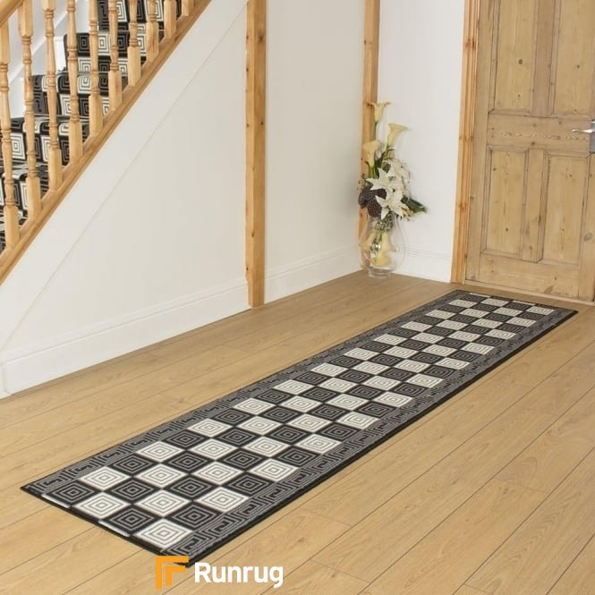 Chequer Black Hall Runner