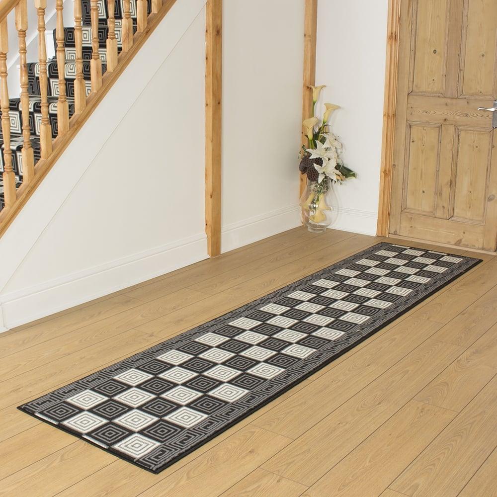 Black hallway carpet runner chequer - Black carpet runners for hall ...