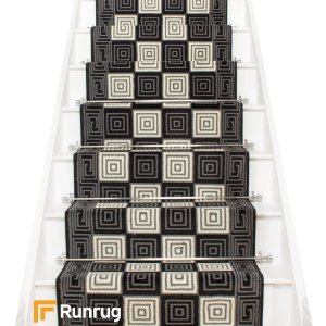 Chequer Black Stair Runner