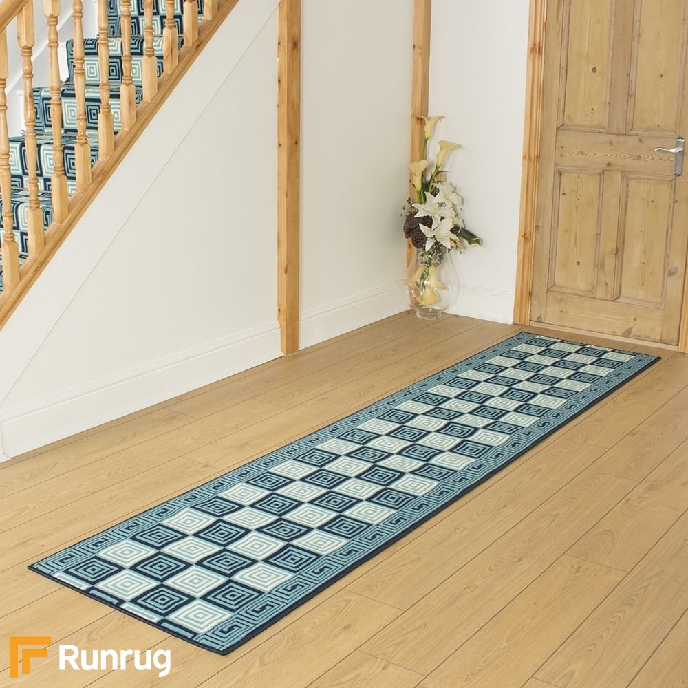 Chequer Blue Remnant - Length: 60cm (2ft 0in) x Width ...