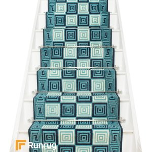 Chequer Blue Stair Runner