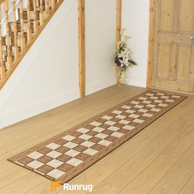 Chequer Brown Hall Runner