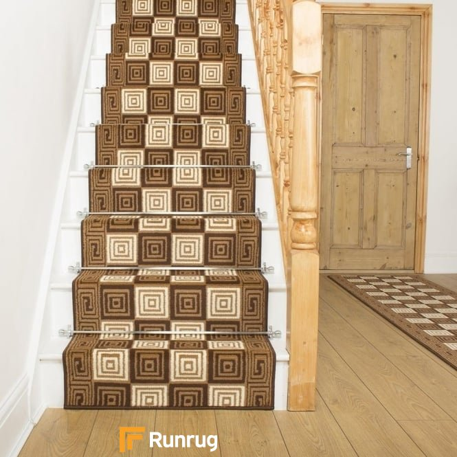 Chequer Brown Stair Runner