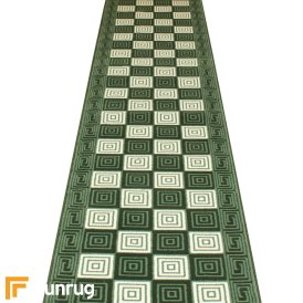 Chequer Dark Green Hall Runner