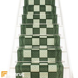 Chequer Dark Green Stair Runner