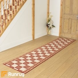 Chequer Red Remnant - Length: 540cm (17ft 9in) x Width: 70cm (2ft 4in)