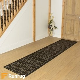 Chevron Black Hall Runner