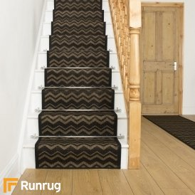Chevron Black Stair Runner