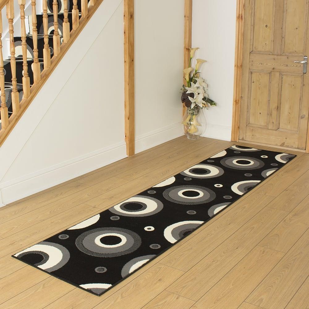 Black hallway carpet runner circle - Black carpet runners for hall ...