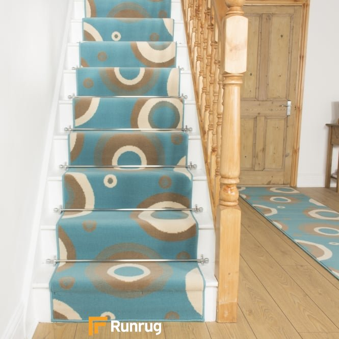 Circle Blue Stair Runner