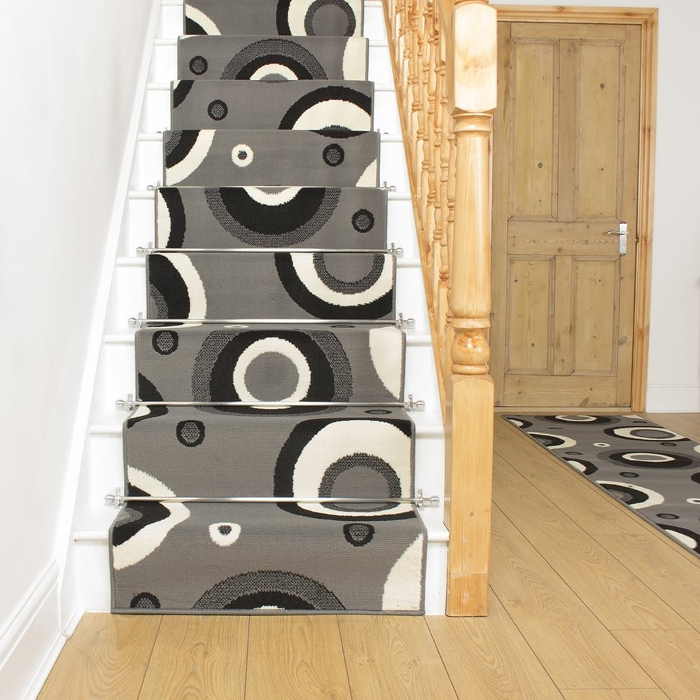 Contemporary Stair Runner Store: Grey Stair Carpet Runner Circle