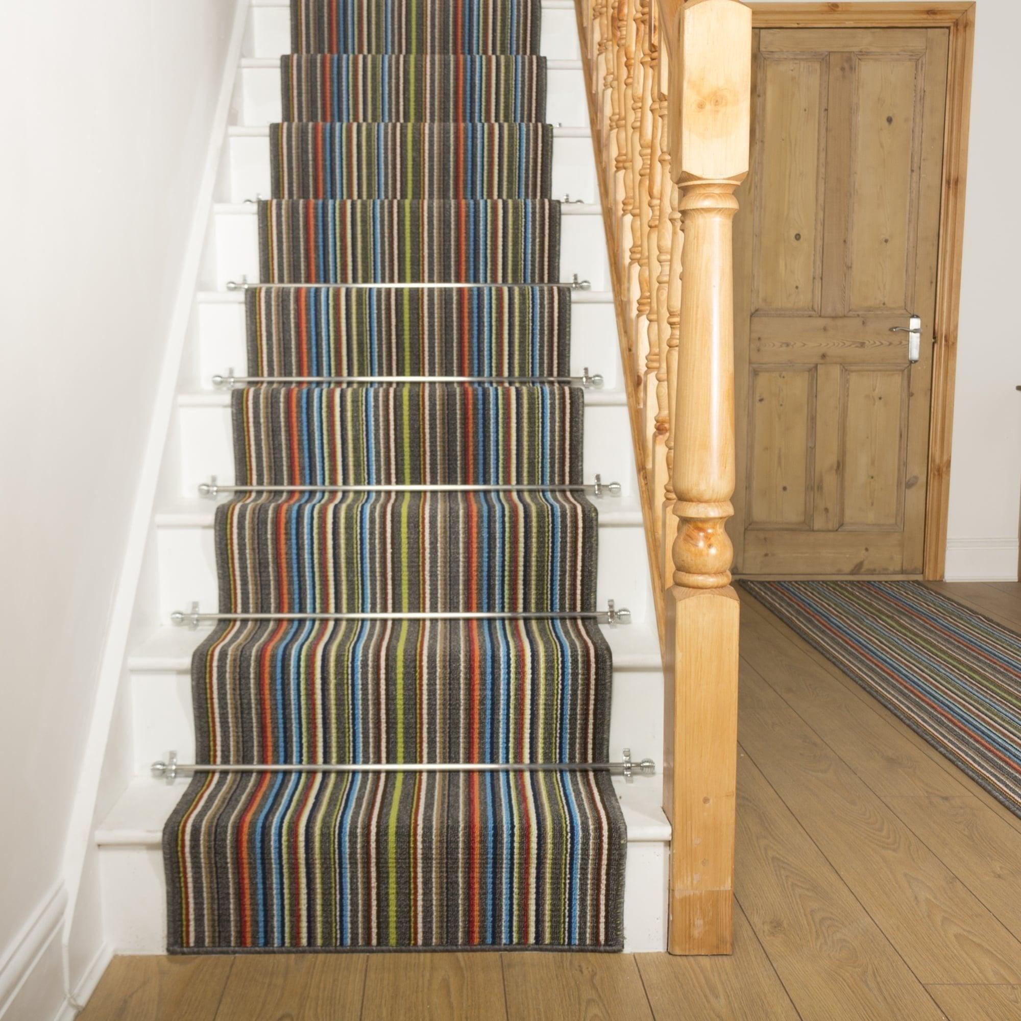 Contra Grey Stripe Stair Runner