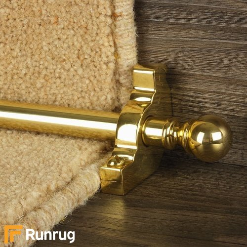 Country Brass Finish Balladeer Plain Stair Carpet Runner Rods