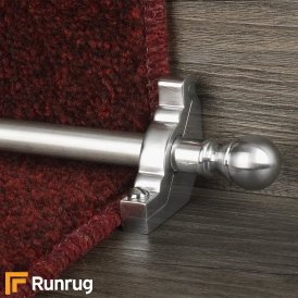 Country Brushed Chrome Finish Balladeer Plain Stair Carpet Runner Rods