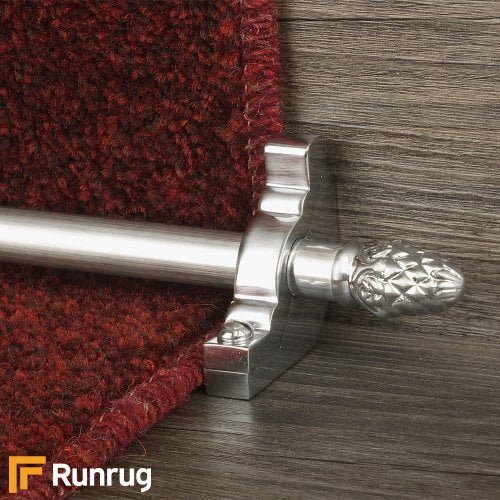 Country Brushed Chrome Finish Sherwood Plain Stair Carpet Runner Rods