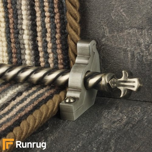 Country Pewter Finish Bordeaux Spiral Stair Carpet Runner Rods