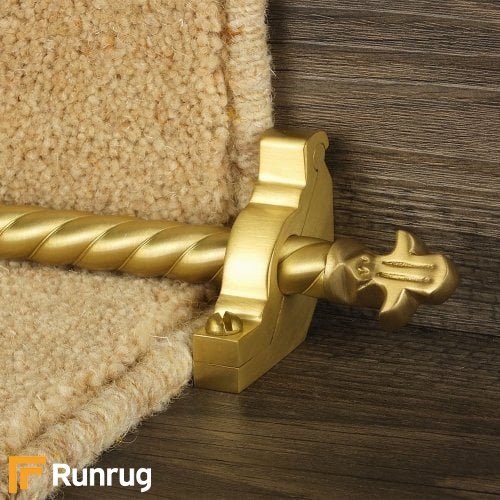 Country Satin Brass Finish Bordeaux Spiral Stair Carpet