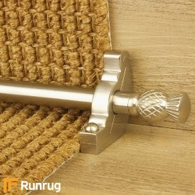 Country Satin Nickel Finish Arran Plain Stair Carpet Runner Rods