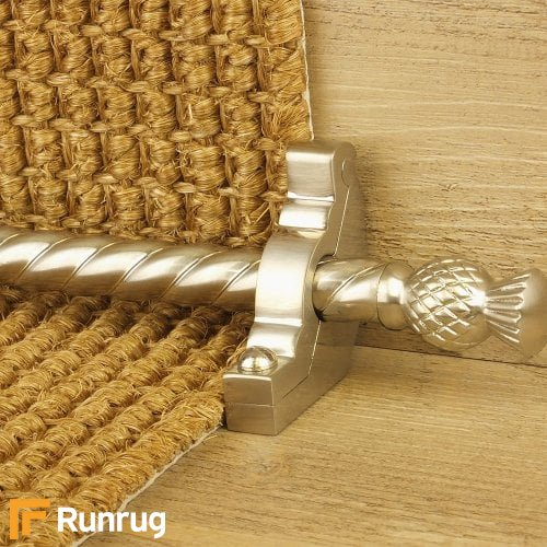 Country Satin Nickel Finish Arran Spiral Stair Carpet Runner Rods